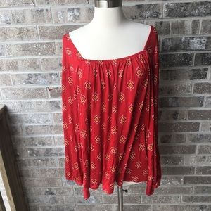 OLD NAVY Aztec Print Open Back Peasant Blouse NWT